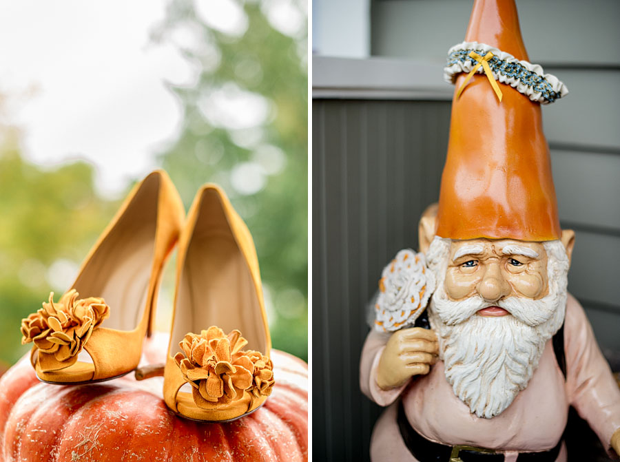A 2-up diptych of a brides velvety, orange high heels atop a pumpkin on the left and a garden gnome statue with her garter on the cone hat on the right photographed during prep for a Golden Gardens Bathhouse wedding
