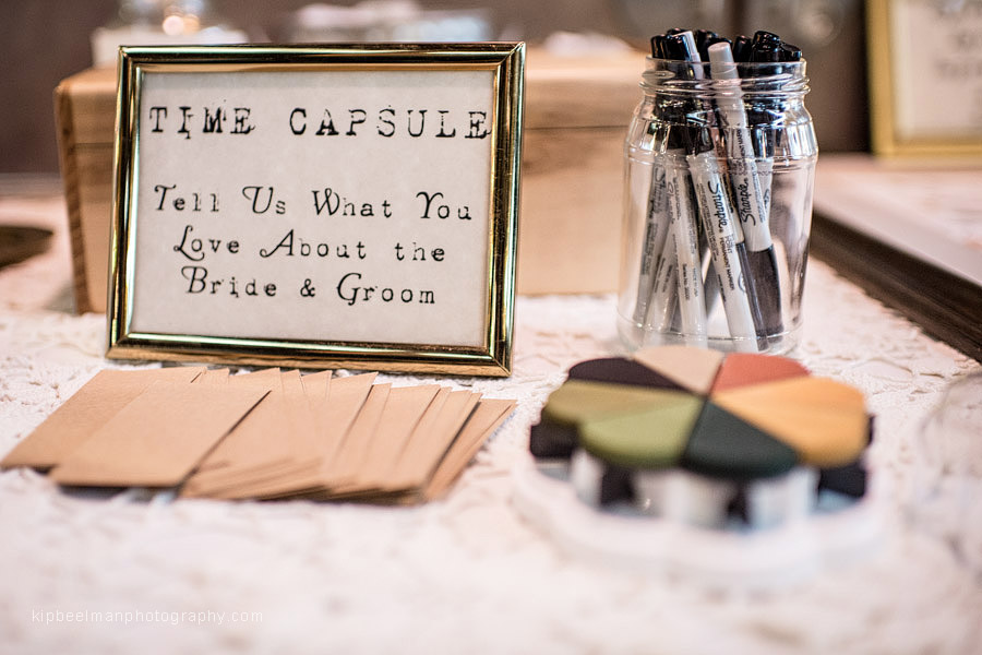 A detail from a Golden Gardens Bathhouse wedding requesting guests to fill out cards stating what they love about the bride and groom for the purpose of a time capsule