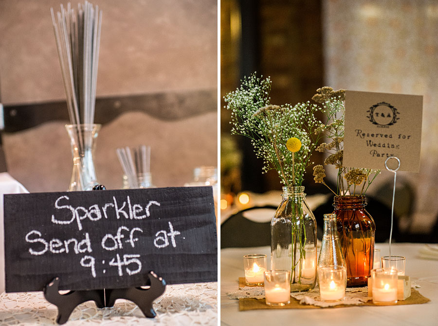 A 2-up diptych of Golden Garden Bathhouse wedding details featuring a sign and sparklers indicating a sparkler send off at 9:45pm on the left and the bride's DIY floral and decor of votives and vintage glassware on the right